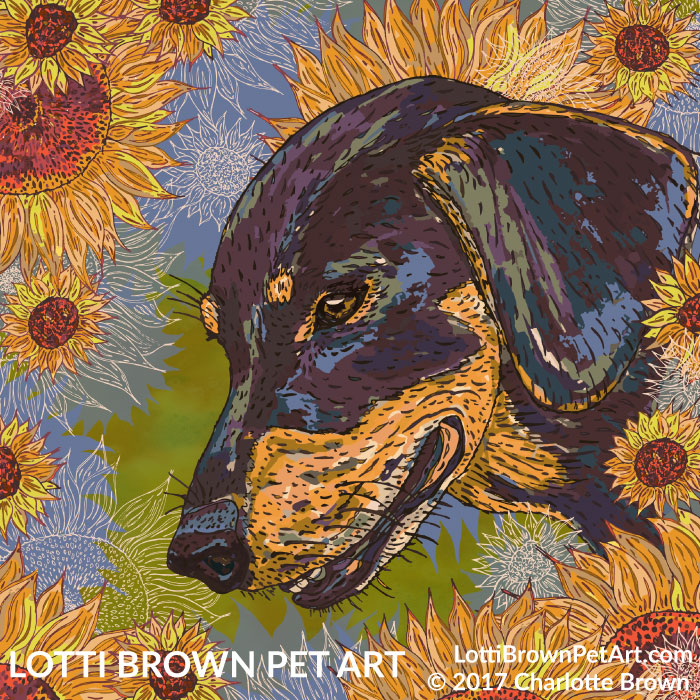 Dachshund art 'Daisy Dachsie and the Sunflowers' by Lotti Brown