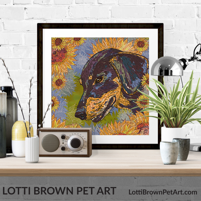 Dachshund art prints are available in my stores