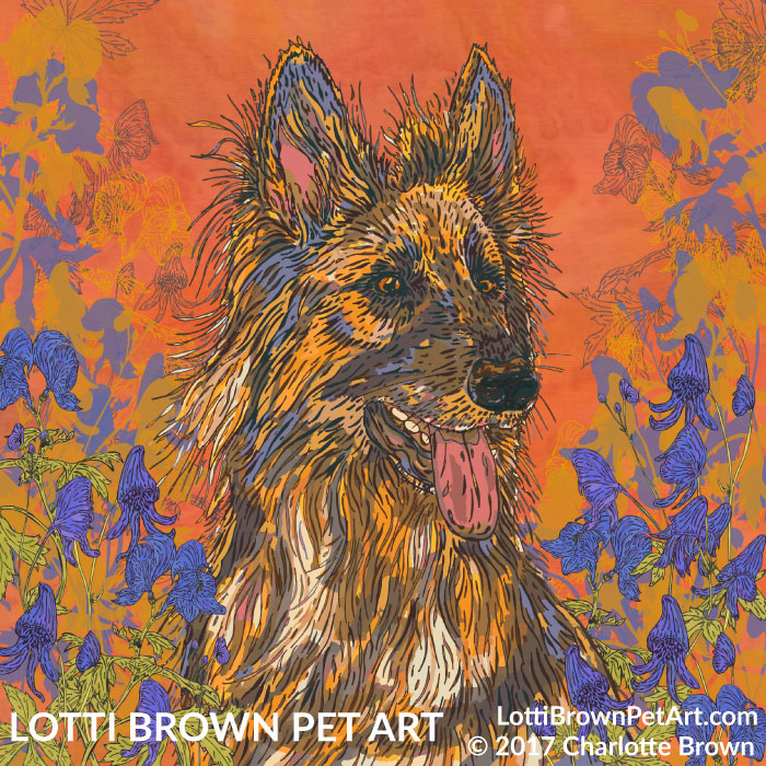 'A Picture of Devotion' German Shepherd art by Lotti Brown