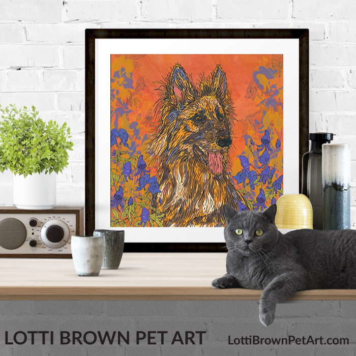 Colourful German Shepherd art prints are available in my stores