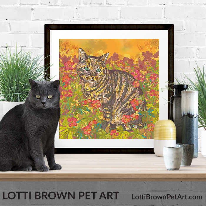 Pretty tabby cat art pints available from my store
