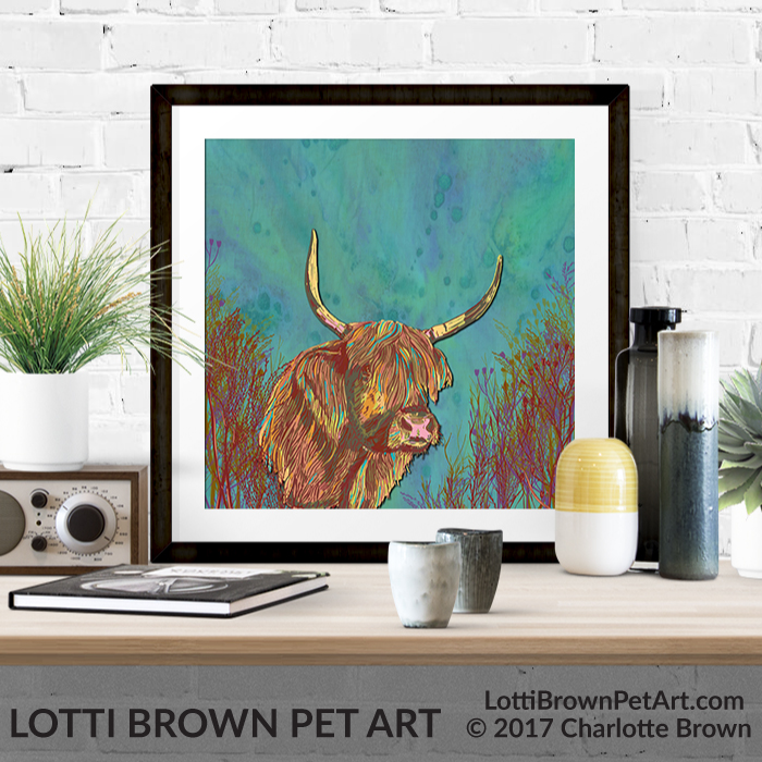 Highland cow art pints are available from my store