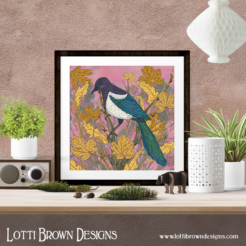 Magpie art prints are available in my online store