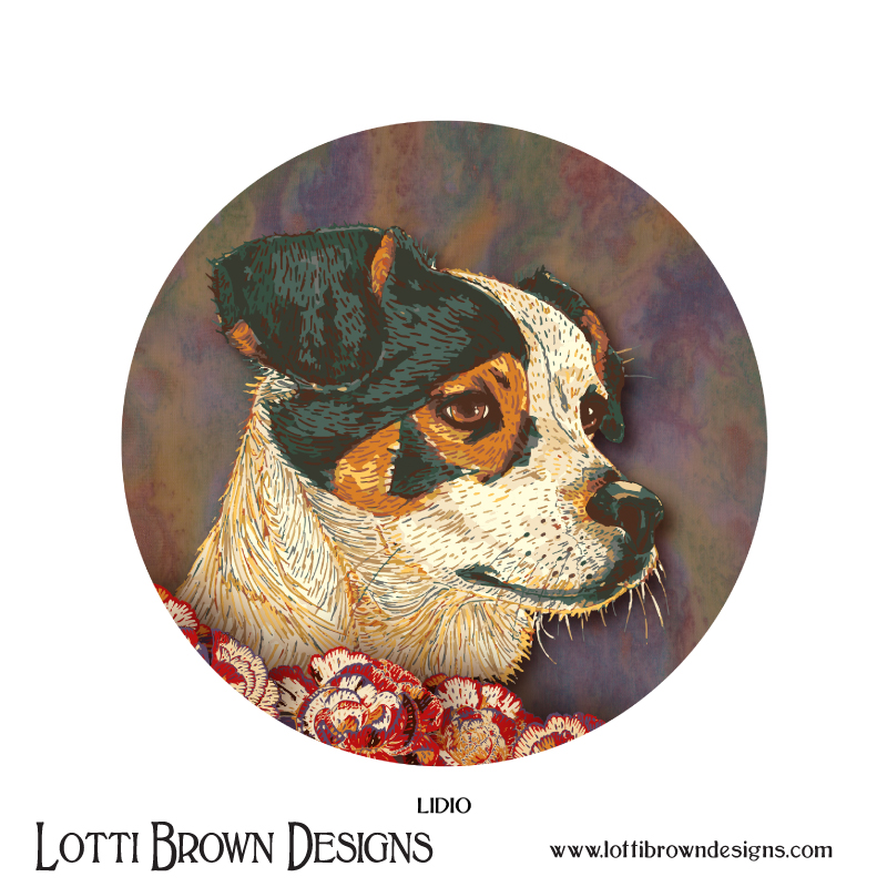Circular Pet Portrait - Custom pet portrait case study - Click here to read about little Lidio - a Spanish rescue dog in Yorkshire (opens in a new window)