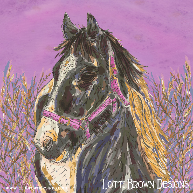The completed horse artwork - 'The Horse with the Golden Mane' by Lotti Brown
