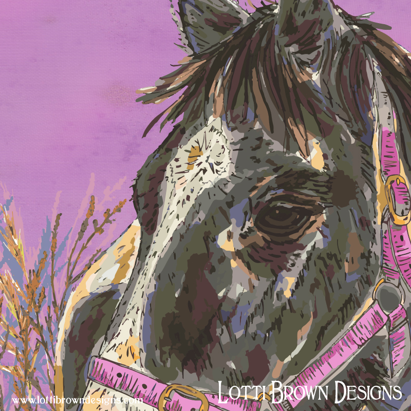 Detail from the horse artwork. Note the subtle blend of colours and slight texture effect in the background.