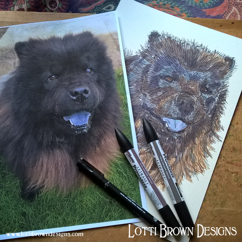 The Chow Chow's tongue is distinctively blue! Shadow's drawing for his pet portrait.
