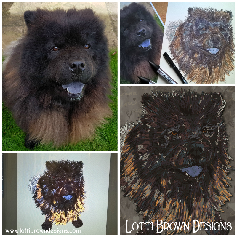 Chow Chow Shadow's surprise custom pet portrait takes shape
