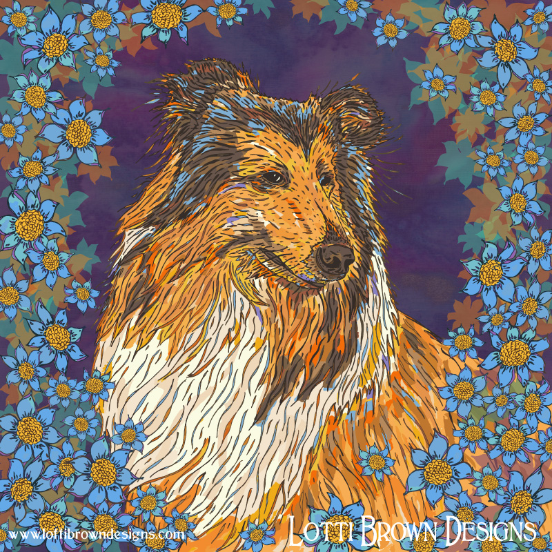 Rough Collie and Blue Flowers - click image to go behind the scenes