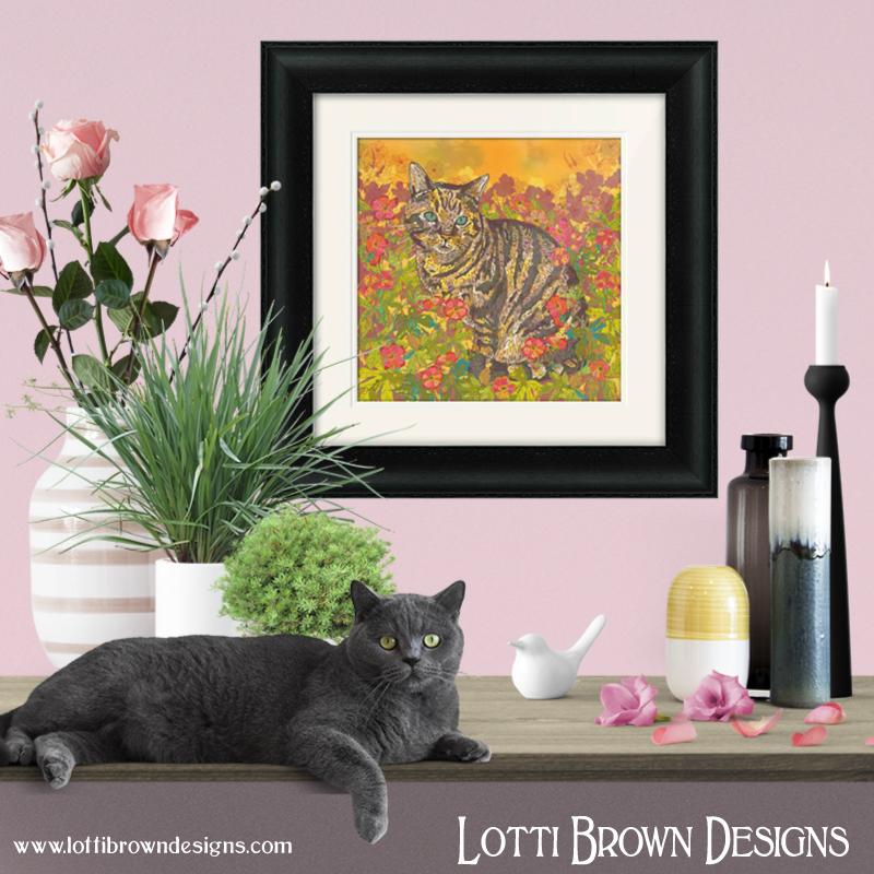 Tabby cat artwork framed