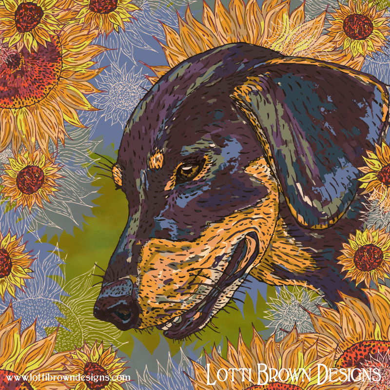 The added sunflowers show the dachshund's large and happy personality