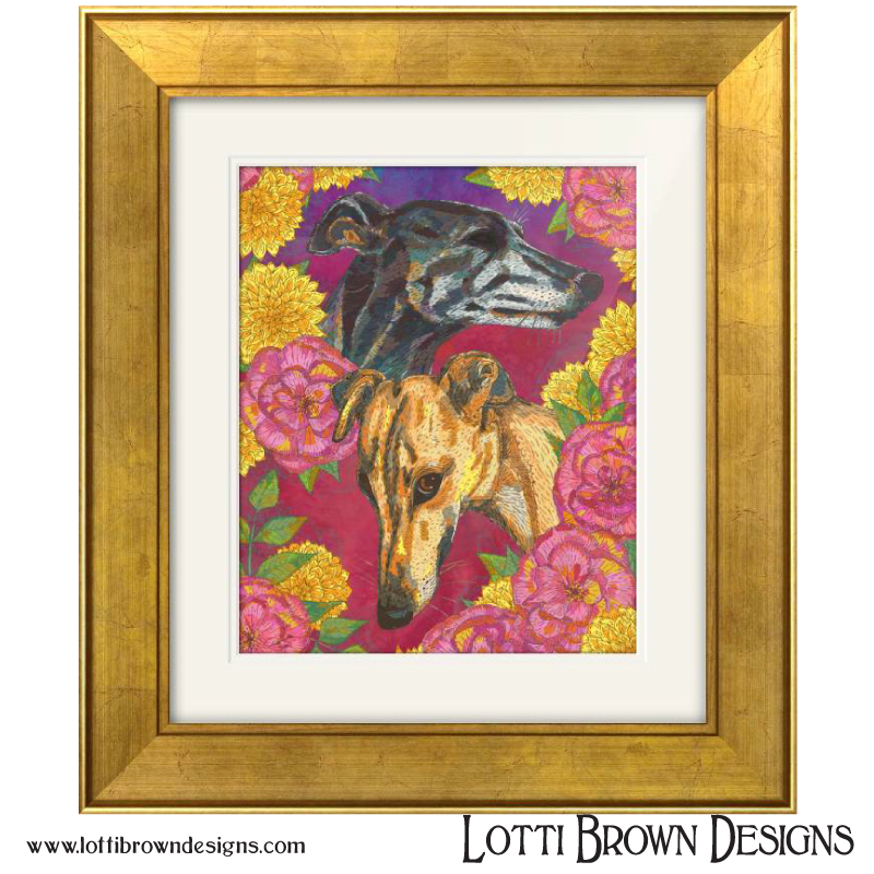 "Sample price for two pets and floral/patterned background  - (P&P to be added)-- Custom artwork plus framed and mounted 200mm x 200mm square print (approx. 8"" x 8"") - £1,095-- Custom artwork plus framed and mounted 300mm x 300mm square print (approx. 12"" x 12"") - £1,125-- Custom artwork plus framed and mounted 400mm x 400mm square print (approx. 16"" x 16"") - £1,175-- Custom artwork plus framed and mounted 500mm x 500mm square print (approx.20"" x 20"") - £1,265Other print sizes are also available. P&P will be extra and charged at cost, which is dependent on your location.For a framed print of the above sizes: P&P to UK destinations will be charged at £8.50; P&P to Republic of Ireland will be charged at £18.50. Other destinations, please enquire for a quote."