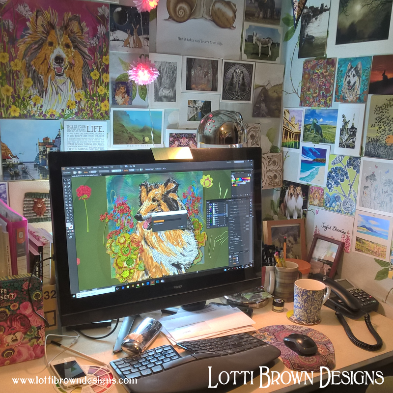 My computer desk where I create art digitally from my drawings