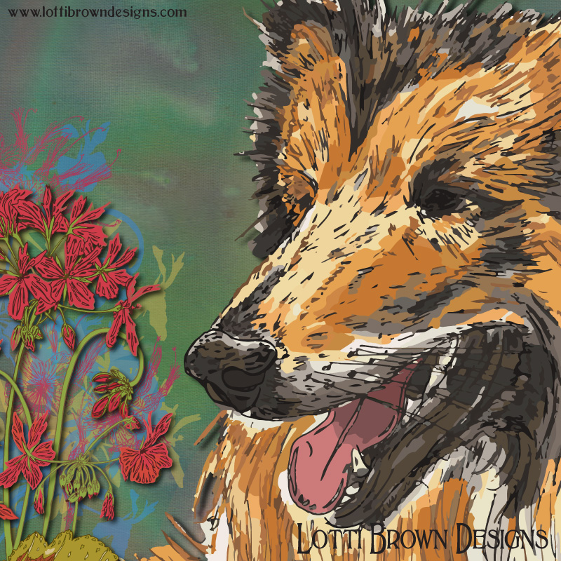 Detail from my rough collie art - click image to see it in the store
