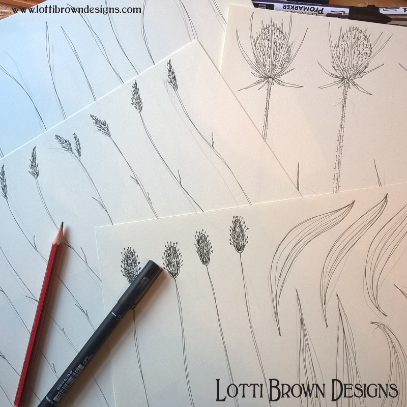 Starting to draw out foliage for my artwork