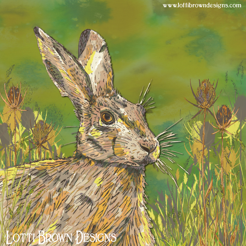 The final hare artwork - colourful and contemporary - fresh and green