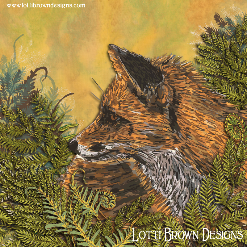 Final 'Ferny Fox' art print - colourful, intricate, and inspired by nature