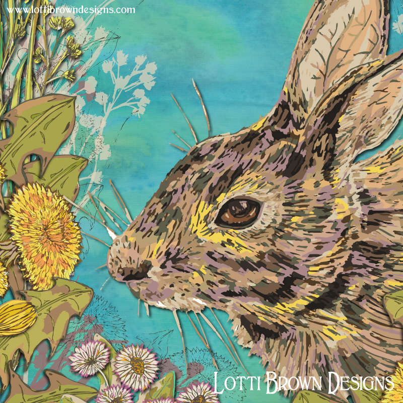 Colourful detail from my rabbit artwork with spring flowers and blue skies