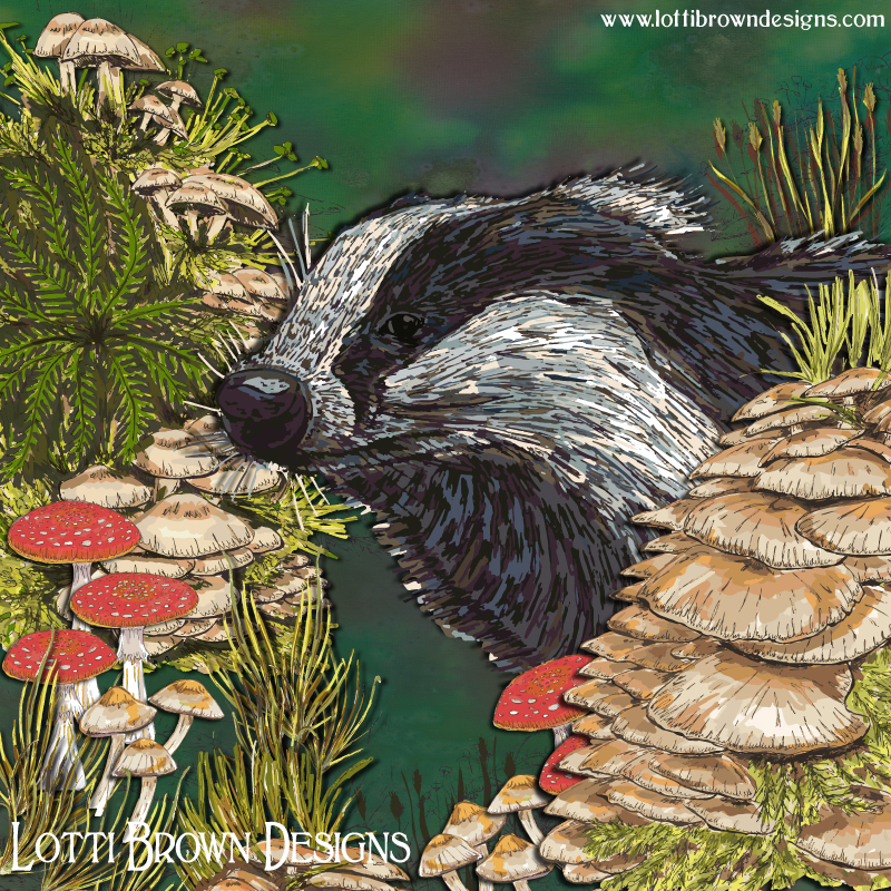 'Badger Woodland Walk' art by Lotti Brown
