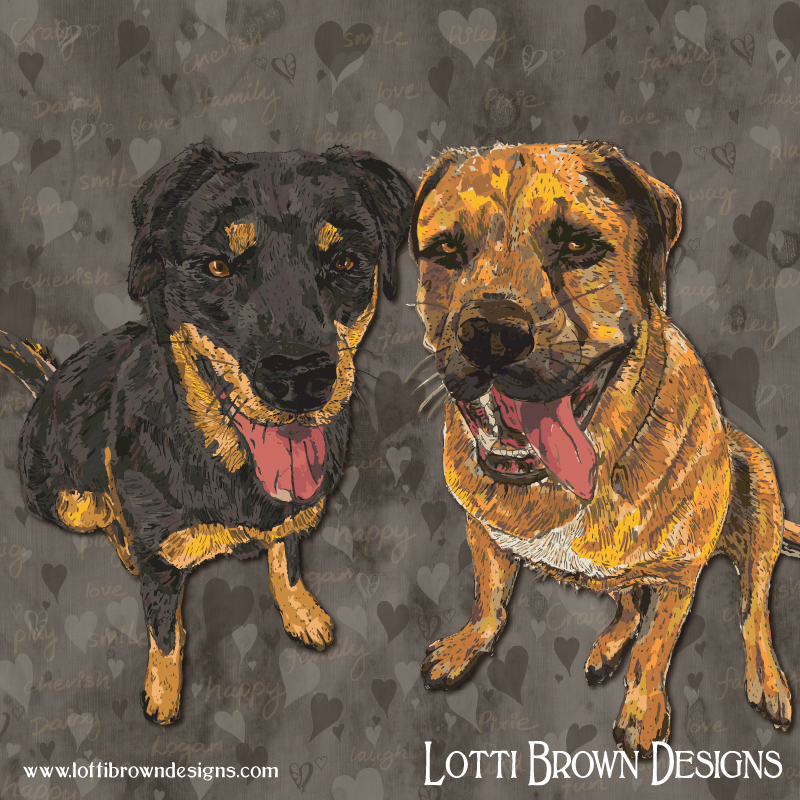 Double Dogs - custom pet portrait - click image to see behind the scenes