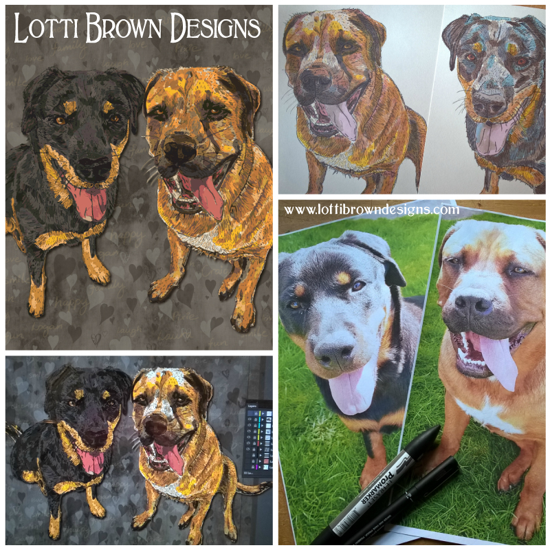 Making the double pet portrait - click image to see how it was created from the customer's photos