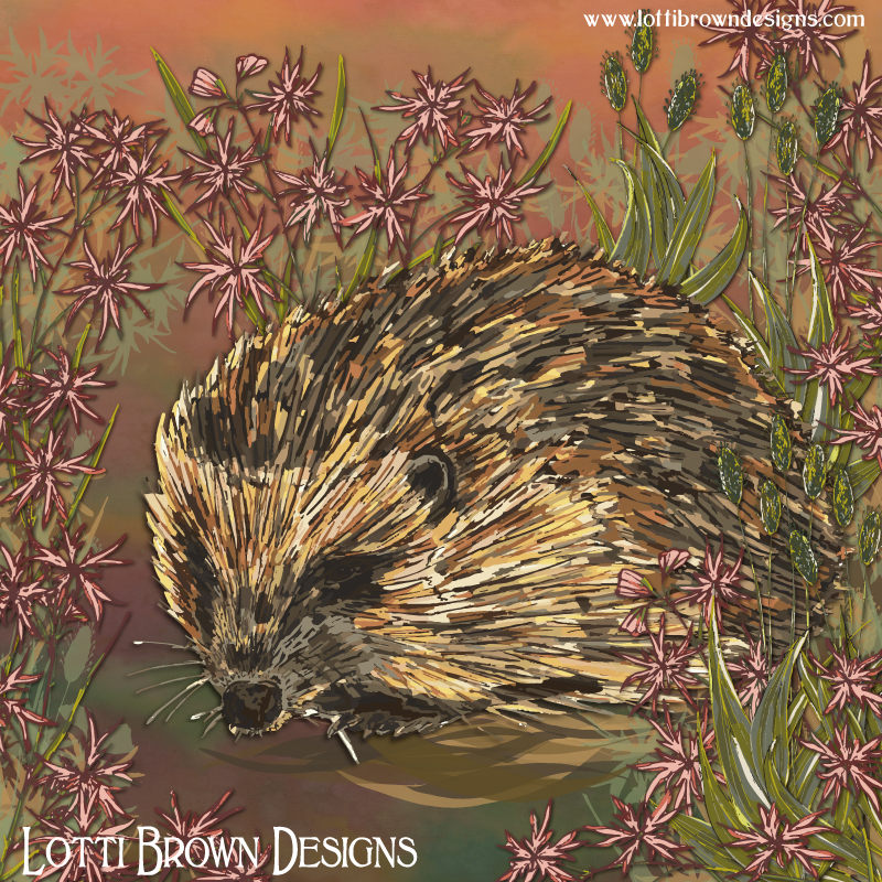 Completed sweet hedgehog artwork with ragged-robin flowers