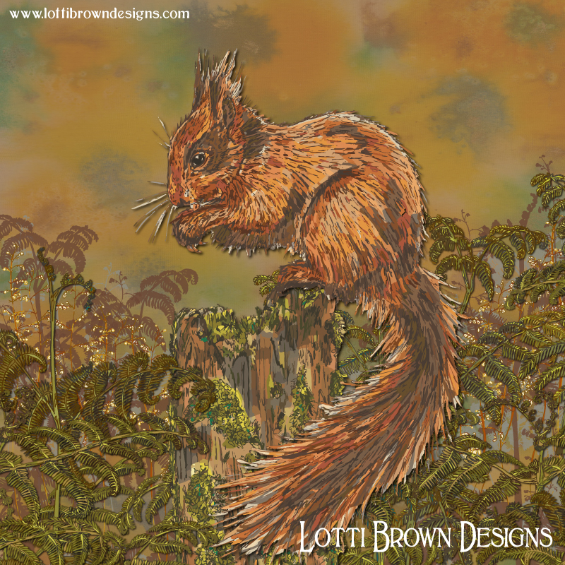 'September Squirrel' art print by Lotti Brown
