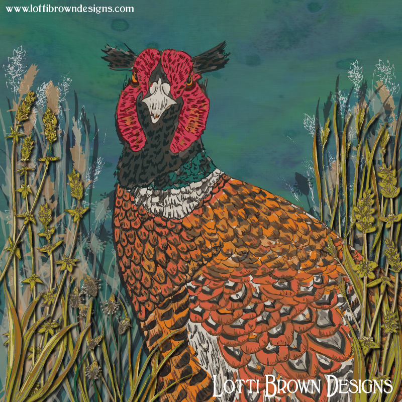 'Funny Pheasant' art print by Lotti Brown