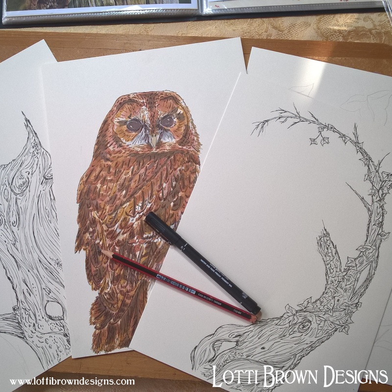 Starting to draw a perch for my owl