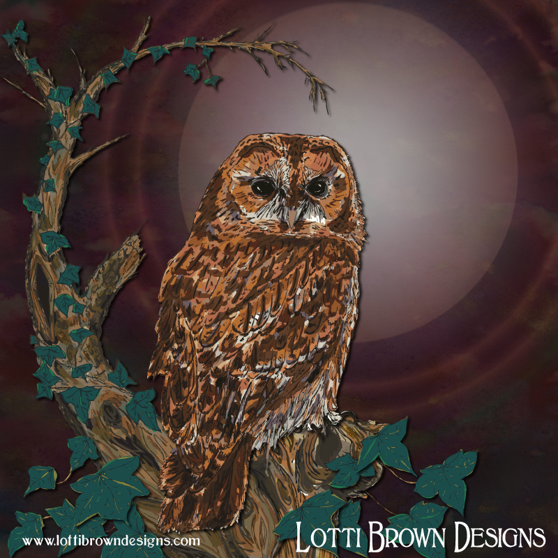 The completed night-time tawny owl art print with shining moon and ivy