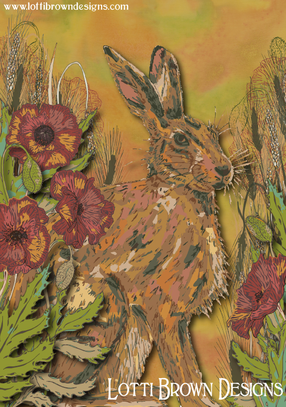 Free 'Hare and Poppy' art print when you sign up for my email newsletter