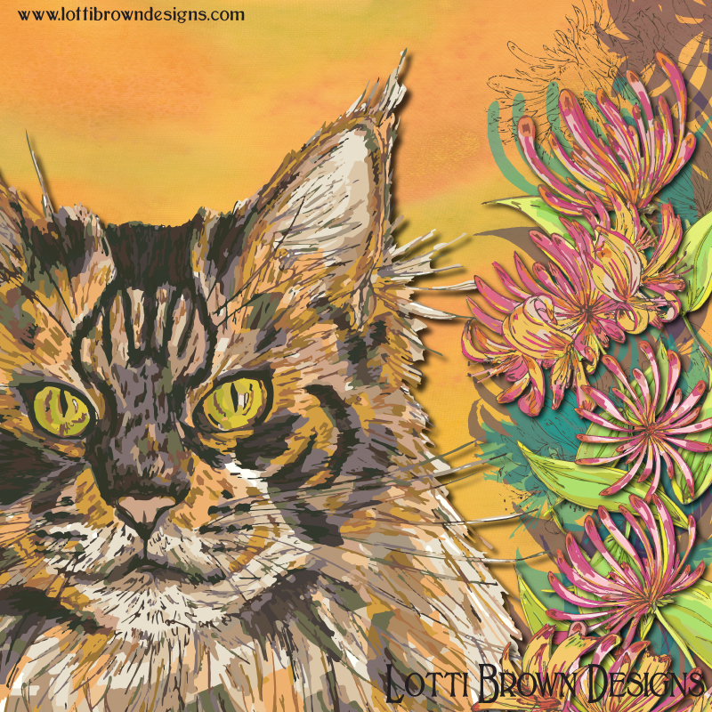 Detail from the colourful fluffy cat artwork