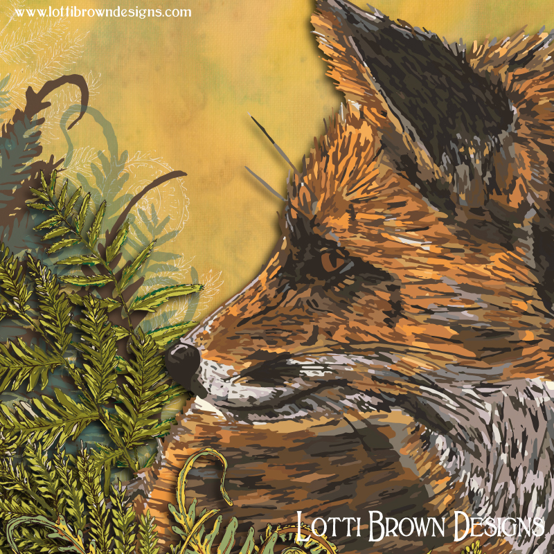 Showing intricate detail from the Ferny Fox art print - click image to find it in my store