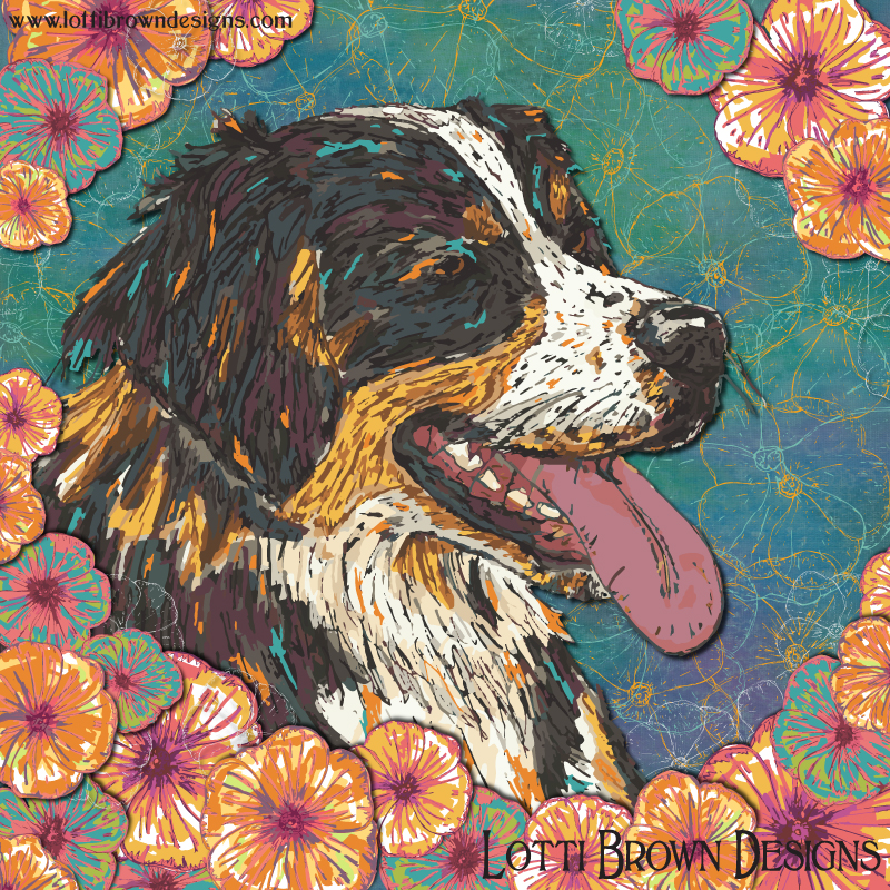 'Bernese Billy and the Blooms' - colourful Bernese Mountain Dog art print by Lotti Brown
