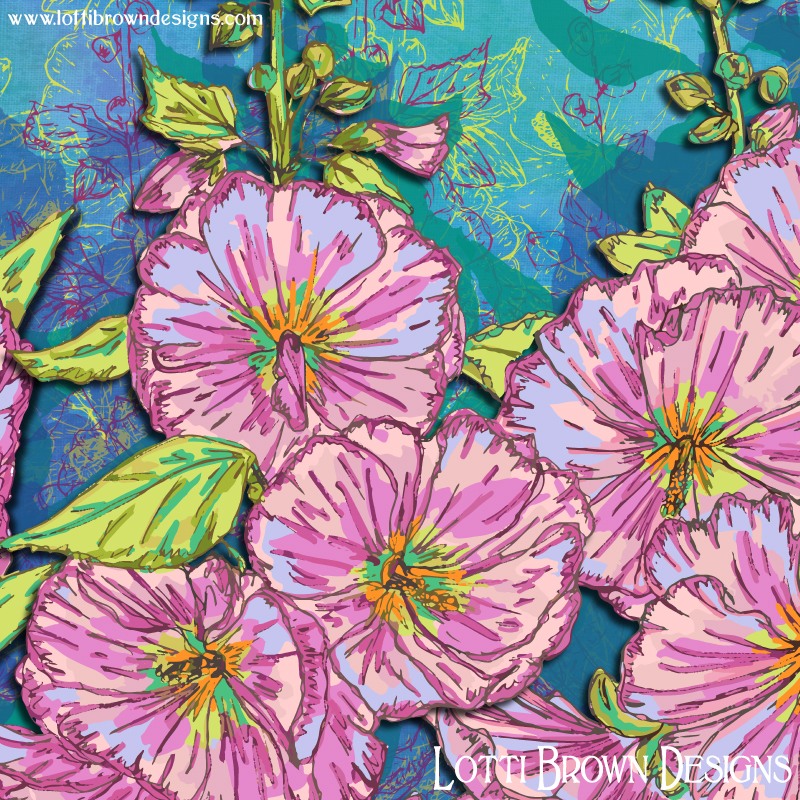 Showing detail from the Hollyhocks artwork