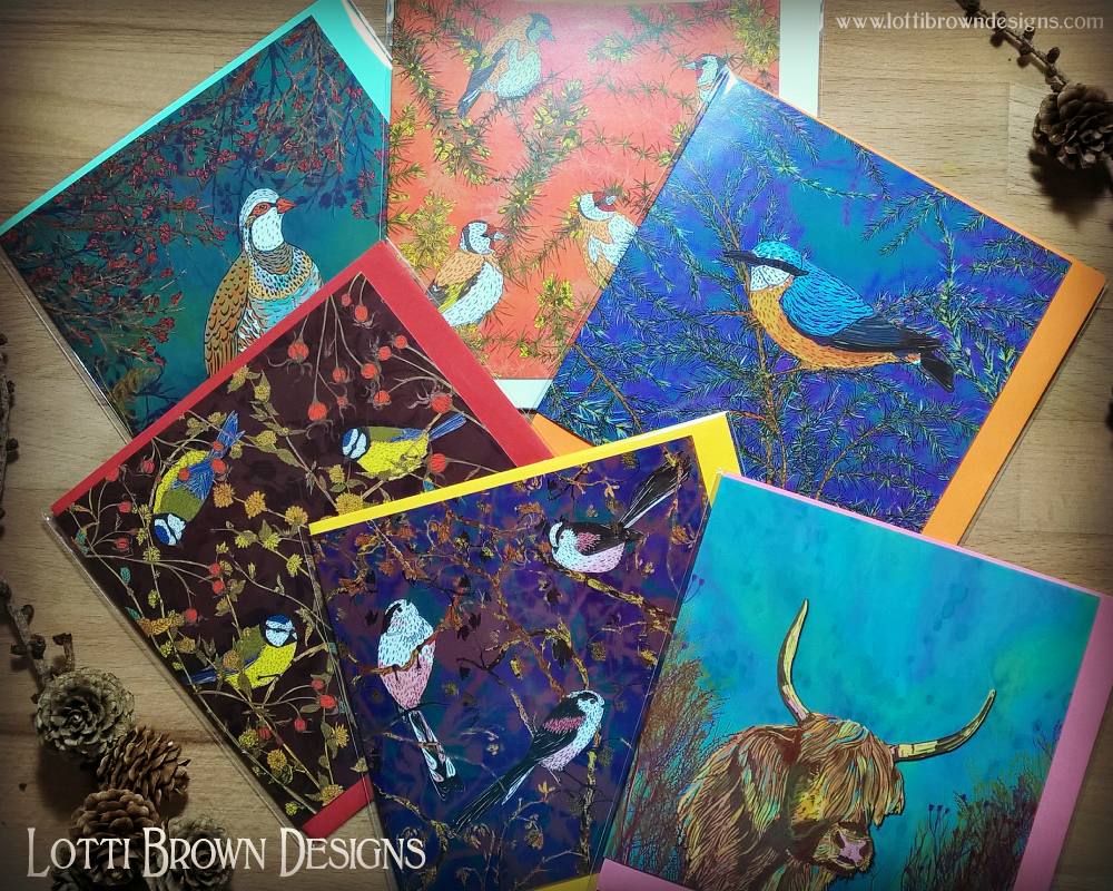 Set of six bird and nature art cards