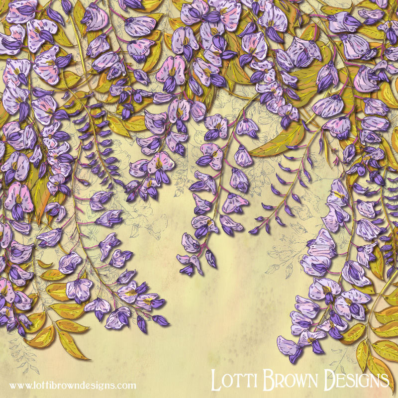 The completed wisteria artwork with soft colours full of tender love and elegant tendrils of wisteria, perfectly positioned