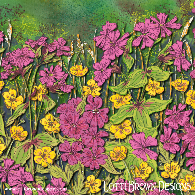 Colourful wildflowers detail from the artwork