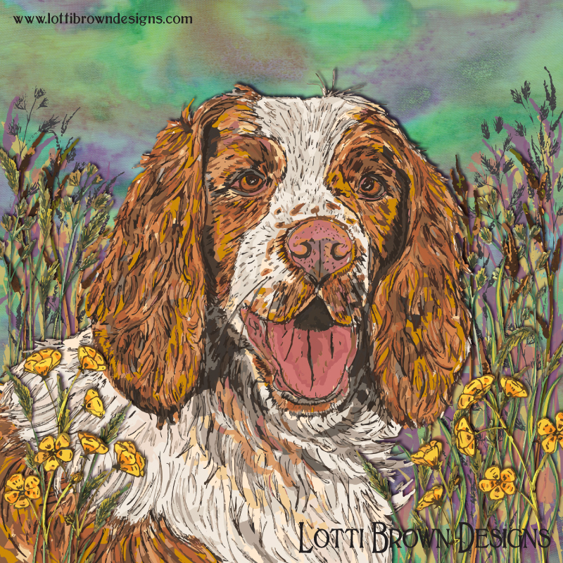 The completed spaniel artwork - love, life, fun...