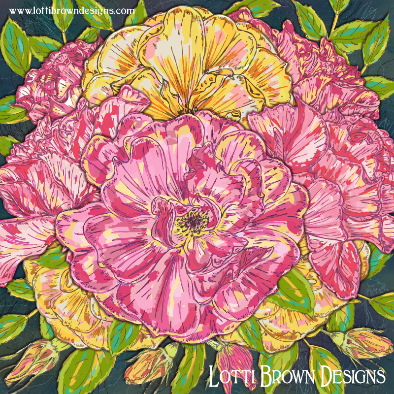 'Summer Roses' colourful rose art print by Lotti Brown