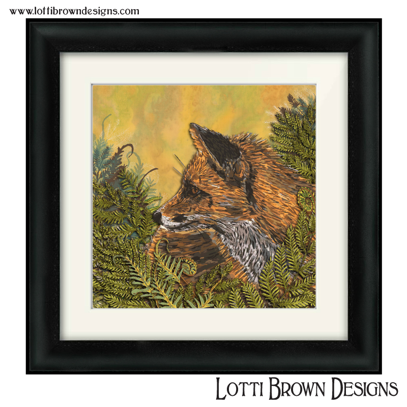 Fox art in black frame