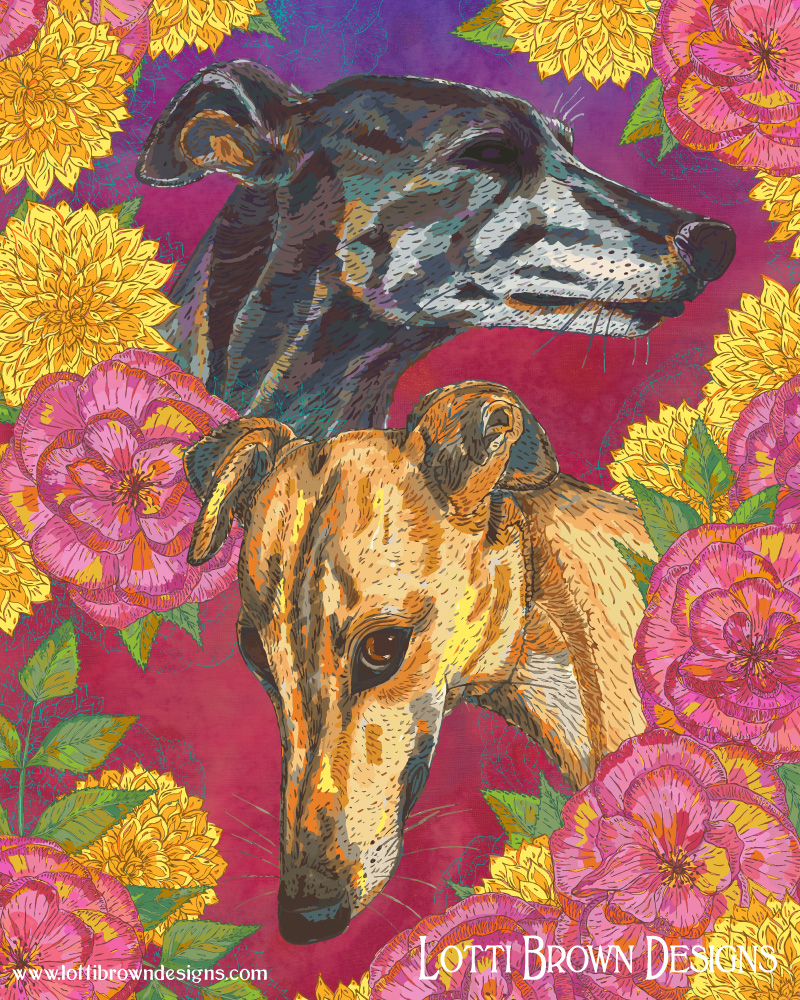Colourful modern pet portraits from photos - two greyhounds - colourful floral backgrounds like this are available and I love to create them!