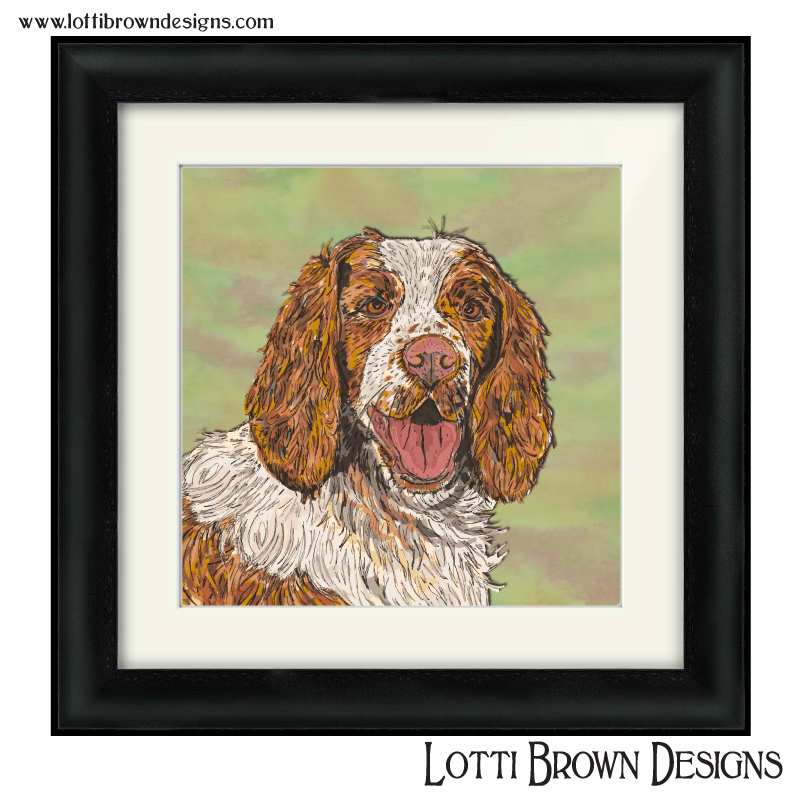 "Sample price for one pet and plain/simple background - -- Custom artwork plus framed and mounted 200mm x 200mm square print (approx. 8"" x 8"" print in a 12"