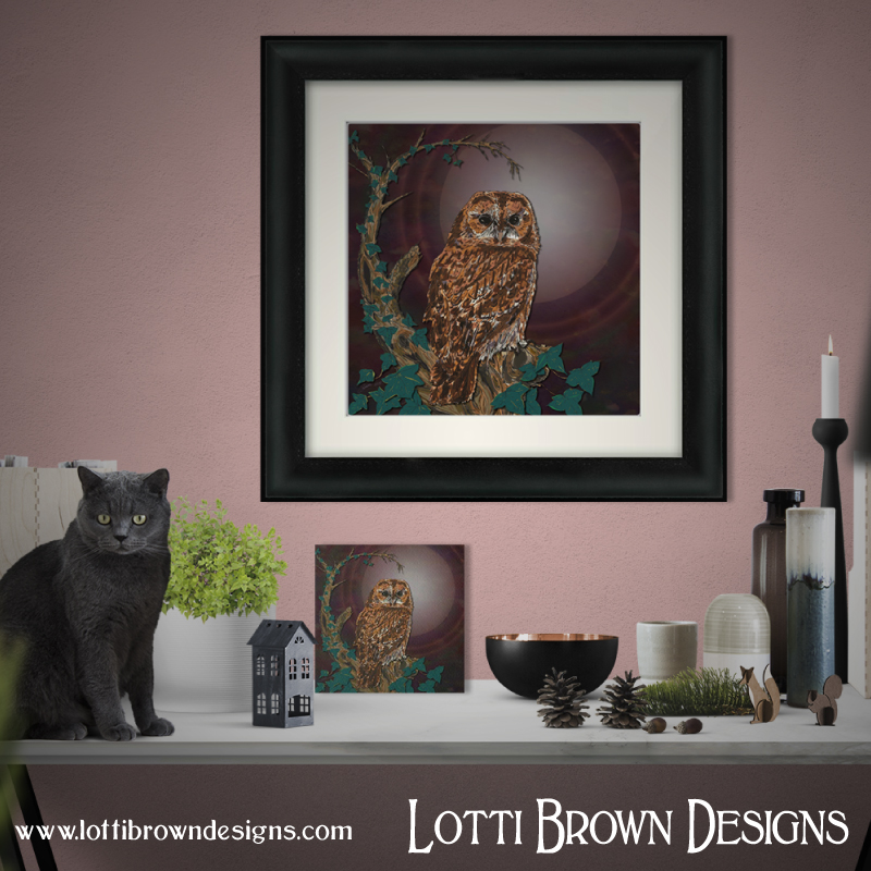 My tawny owl art print is available as a framed or unframed giclee art print or mini artboard, in my online art store - click image to see