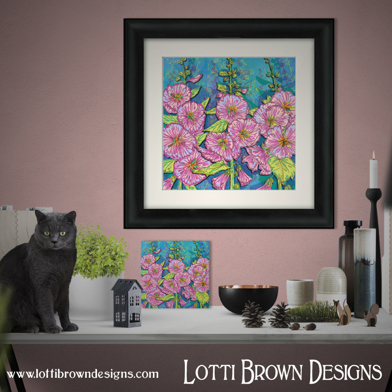 Framed and unframed 'Hollyhocks' art prints are available in my online art store