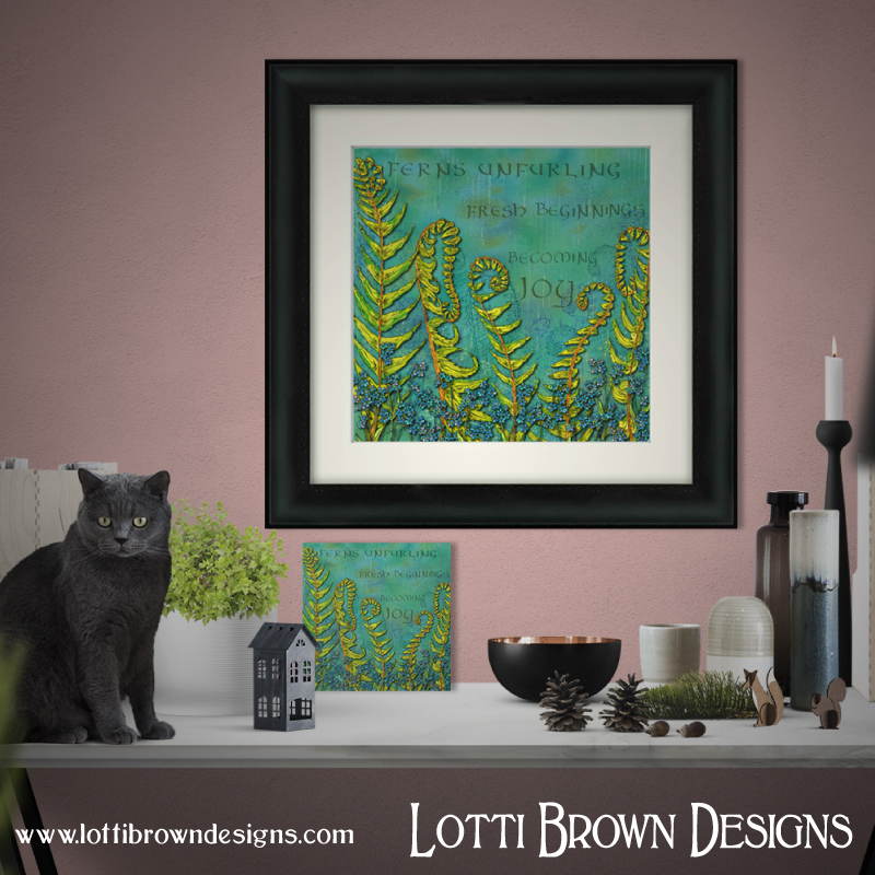Framed and unframed 'Becoming Joy' Forget-me-not and Fern prints available in my store