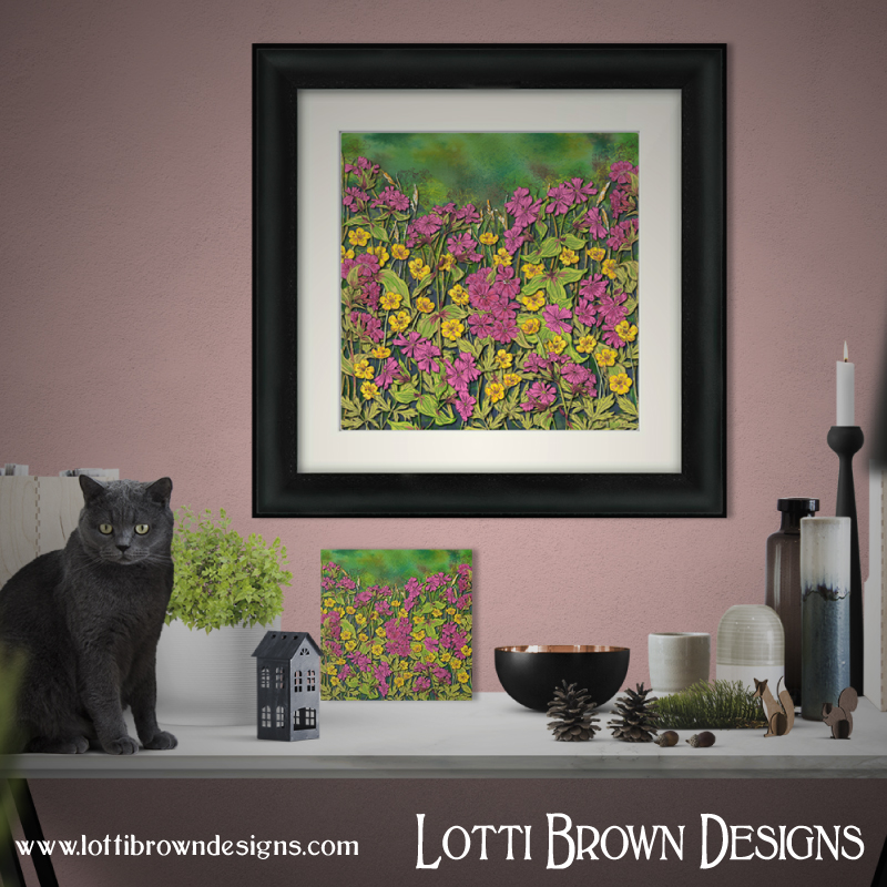 'Flowers at Fox Corner' framed and unframed art prints available in my store
