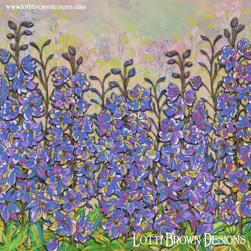 'Darling Delphiniums' colourful floral artwork by Lotti Brown