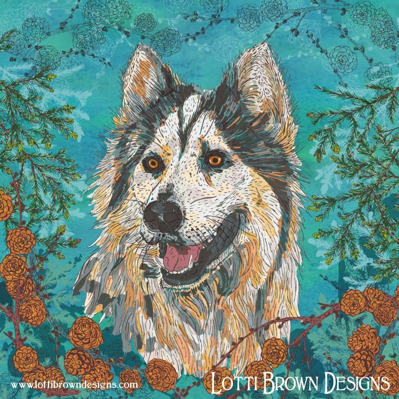 Wolf or dog? Husky artwork by Lotti Brown. Click image to buy this print in my store