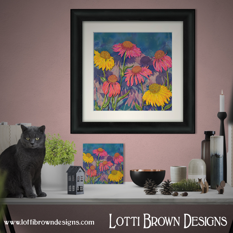 'Colourful Coneflowers' vibrant summer floral art print by Lotti Brown - available as a framed or unframed print in my online store